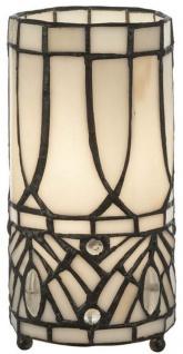 Casa Padrino Luxus Tiffany Tischleuchte Weiß / Schwarz Ø 10 x H. 20 cm - Runde Hockerleuchte - Schreibtischleuchte - Deko Leuchte