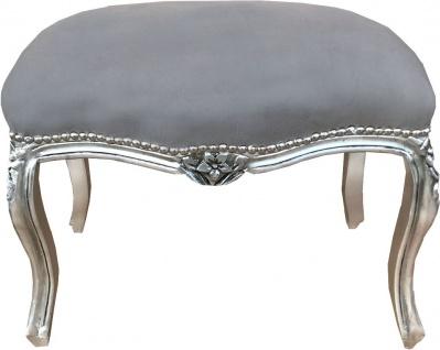 Casa Padrino Barock Sitzhocker Grau / Silber - Antik Stil Möbel - Damen Schniktisch Hocker