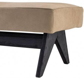 Casa Padrino Luxus Echtleder Bank Beige / Schwarz 164 x 54 x H. 44 cm - Gepolsterte Massivholz Sitzbank mit edlem Nubuk Büffelleder - Luxus Möbel - Vorschau 3
