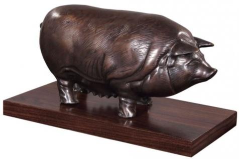 Casa Padrino Luxus Bronzefigur Schwein auf Holzsockel Bronze / Dunkelbraun 35 x 17 x H. 19 cm - Deko Figur