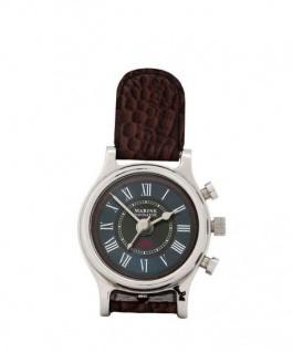 Casa Padrino Designer Luxus Uhr Nickel finish mit braunem Leder 9 x H. 19 cm - Hotel Dekoration