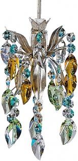 Casa Padrino Luxus LED Hängeleuchte Silber / Mehrfarbig Ø 12 x H. 17 cm - Moderner Metall Hängelampe mit Swarovski Kristallglas - Luxus Kollektion