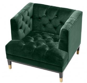 Casa Padrino Luxus Wohnzimmer Sessel Grün / Schwarz / Messingfarben 93 x 85 x H. 79 cm - Chesterfield Möbel - Vorschau 3