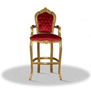 Casa Padrino Barock Hochstuhl Barstuhl Gold Rot 55 x 50 x H. 140 cm - Limited Edition