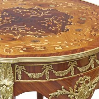 Casa Padrino Barock Beistelltisch Mahagoni Intarsien / Gold H78 x 76 cm - Ludwig XVI Antik Stil Tisch - Möbel - Vorschau 4