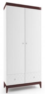 Casa Padrino Luxus Kleiderschrank Weiß / Hochglanz Braun 111, 2 x 60 x H. 205 cm - Massivholz Schlafzimmerschrank mit 2 Türen und 2 Schubladen - Schlafzimmermöbel