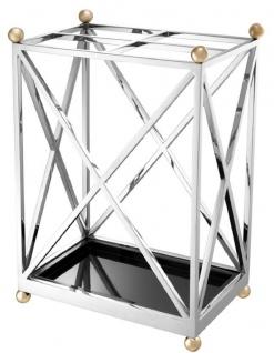 Casa Padrino Luxus Schirmständer Silber / Messingfarben / Schwarz 41, 5 x 26, 5 x H. 58 cm - Luxus Accessoires