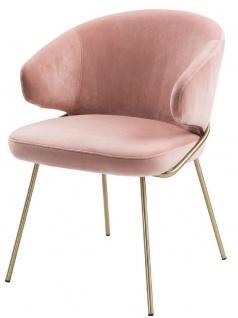 Casa Padrino Luxus Esszimmerstuhl mit Armlehnen Rosa / Messingfarben 60 x 64 x H. 81 cm - Küchenstuhl mit edlem Samtstoff - Esszimmermöbel