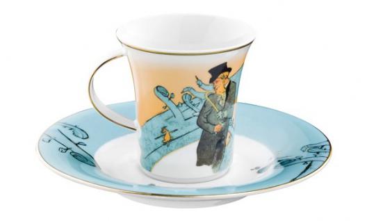 """Handgearbeitete Moccatasse aus Porzellan mit einem Motiv von T. Lautrec """" Divan Japonais"""" 0, 09 Ltr. - feinste Qualität aus der Tettau Porzellanfabrik - wunderschöne Espressotasse - Vorschau 2"""