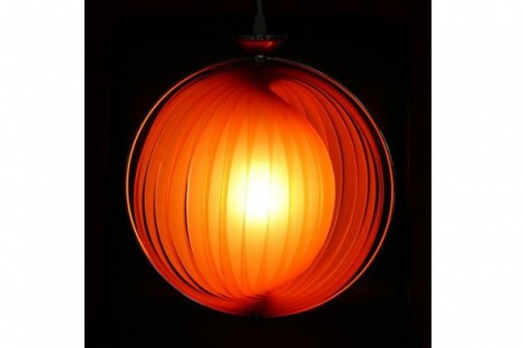 Designer Pendelleuchte mit flexiblen und verstellbaren Kunststoff-Streifen, Orange, Leuchte Lampe