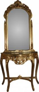 Casa Padrino Barock Spiegelkonsole in Gold mit grüner Marmorplatte Mod5 - Antik Look - Limited Edition