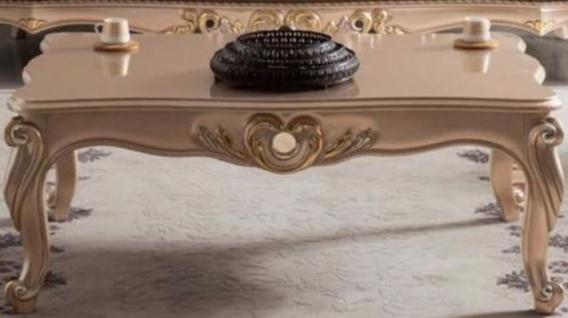 Casa Padrino Luxus Barock Couchtisch Bronze / Gold 122 x 82 x H. 46 cm - Massivholz Wohnzimmertisch im Barockstil