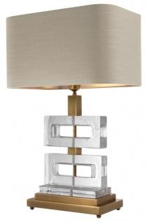 Casa Padrino Luxus Tischleuchte Vintage Messing / Khaki 45 x H. 70 cm - Luxus Kollektion