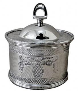 Casa Padrino Jugendstil Deko Dose Silber Ø 11 x H. 10 cm - Runde Messing Aufbewahrungsdose mit Deckel und Steigbügel Griff