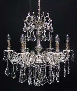 Casa Padrino Barock Kristall Kronleuchter 6-Flammig Silber - Hängeleuchte Lüster Hängelampe Deckenlampe