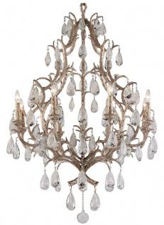 Casa Padrino Luxus Barock Kronleuchter Bronze Ø 93 x H. 136 cm - Handgefertigter Schmiedeeisen Kronleuchter mit edlen venezianischem Kristallglas Behängen in Tropfenform