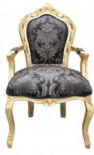 Casa Padrino Barock Esszimmer Stuhl Schwarz Muster / Gold mit Armlehnen - Möbel