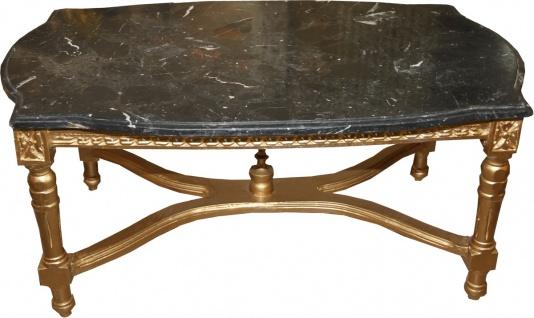 Casa Padrino Barock Antik Couchtisch Gold mit schwarzer Marmorplatte 96 x 58.5 cm - Limited Edition - Antik Look