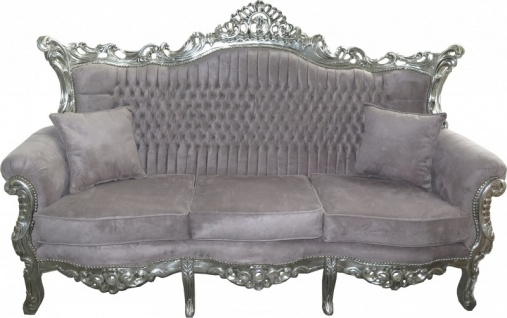 Casa Padrino Barock 3er Sofa Master Grau / Silber Mod1 - Wohnzimmer Möbel Couch Lounge