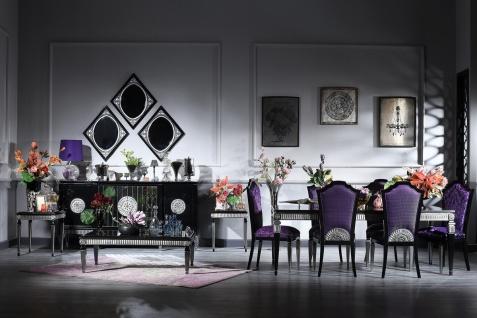 Casa Padrino Luxus Barock Wohnzimmer & Esszimmer Set Lila / Schwarz / Silber - Barockmöbel - Vorschau 2