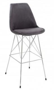 Casa Padrino Designer Barstuhl Retro Antik Grau 49 x 50 x H. 119 cm - Barhocker mit Rückenlehne
