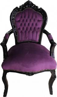 Casa Padrino Barock Esszimmer Stuhl mit Armlehnen Lila / Schwarz