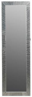 Casa Padrino Luxus Schmuckschrank mit Spiegeltür & Glitteroptik Silber / Weiß 36 x 9 x H. 120 cm - Luxus Kollektion