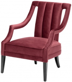Casa Padrino Luxus Sessel Bordeauxrot / Schwarz 70 x 80 x H. 95 cm - Luxus Qualität