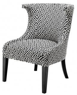 Casa Padrino Sessel in schwarz / weiß 66 x 60 x H. 91 cm - Luxus Ohrensessel