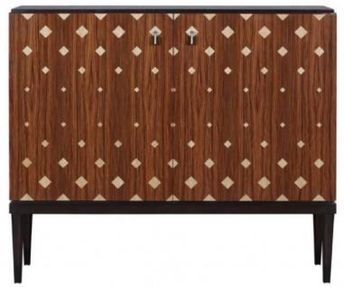 Casa Padrino Luxus Wohnzimmerschrank mit 2 Türen Braun / Dunkelbraun / Schwarz 125 x 42 x H. 107 cm - Luxus Wohnzimmermöbel