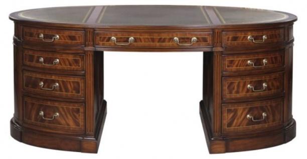 Casa Padrino Luxus Partner Schreibtisch Braun / Grün 180 x 102 x H. 76 cm - Mahagoni Doppel Schreibtisch mit 18 Schubladen - Vorschau 3