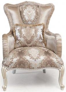 Casa Padrino Luxus Barock Sessel mit Kissen Beige / Weiß / Gold 83 x 96 x H. 102 cm - Barock Wohnzimmer Möbel