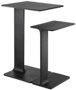 Casa Padrino Luxus Beistelltisch Set Schwarz - 2 Tische aus hochwertigem Aluminium - Wohnzimmer Möbel - Luxus Qualität