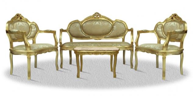 Casa Padrino Barock Salon Set mit Sitzbank 2 Stühlen und Tisch - Hotel Möbel im Antik Stil