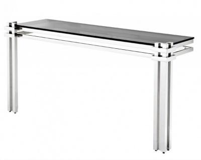 Casa Padrino Luxus Konsole Edelstahl / getöntes Glas - Konsolen Tisch - Sekretär Konsole - Telefontisch - Hotel Möbel
