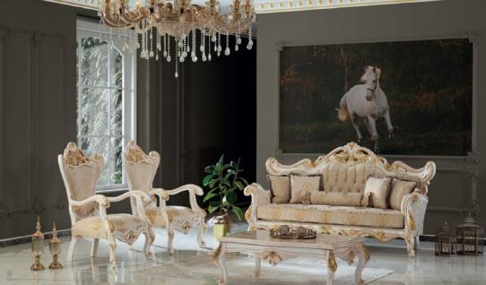Casa Padrino Luxus Barock Wohnzimmer Set Beige / Weiß / Gold - 2 Sofas & 2 Sessel & 1 Couchtisch - Handgefertigte Wohnzimmer Möbel im Barockstil - Edel & Prunkvoll