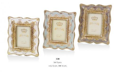 Casa Padrino Barock Bilderrahmen3er Set Antik Look 14 x 12 cm - Bilder Rahmen Foto Rahmen Jugendstil Antik Stil Shabby Chic
