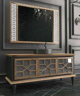 Casa Padrino Luxus Badezimmer Set Naturfarben / Schwarz - 1 Waschtisch mit 3 Türen und 1 Waschbecken und 1 Wandspiegel - Luxus Qualität