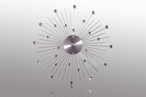 Designer Wanduhr aus Edelstahl mit Bling Bling Steinen, Silber, Durchmesser: 50 cm