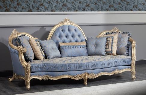 Casa Padrino Luxus Barock Chesterfield Sofa Hellblau / Antik Gold 300 x 90 x H. 119 cm - Prunkvolles Barock Wohnzimmer Sofa - Barockmöbel - Vorschau 2