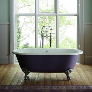 Casa Padrino Luxus Gusseisen Badewanne Lila / Weiß 154 cm - Gebogene freistehende Badewanne - Barock & Jugendstil Badezimmer Möbel