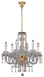 Casa Padrino Barockstil Kristall Kronleuchter Messing / Gold 58 x 56 x H. 56 cm - Edel & Prunkvoll