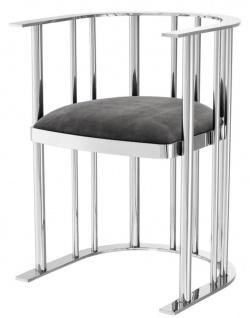 Casa Padrino Designer Stuhl mit Armlehnen Silber / Dunkelgrau 54, 5 x 53 x H. 68 cm - Designermöbel