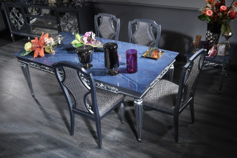 Casa Padrino Luxus Barock Esszimmer Set Blau / Grau / Silber - Esstisch und 4 Esszimmerstühle - Barock Esszimmermöbel