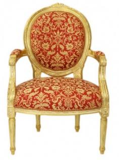 Casa Padrino Barock Medaillon Salon Stuhl Bordeaux Muster Gold / Gold - Möbel Antik Stil
