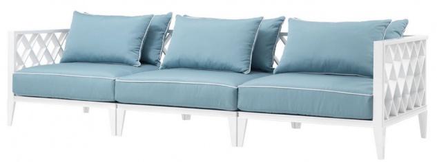 Casa Padrino Luxus Wohnzimmer Sofa mit Kissen Weiß / Hellblau 275, 5 x 93 x H. 69 cm - Wohnzimmermöbel
