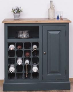 Casa Padrino Landhausstil Weinschrank mit Tür Graublau / Naturfarben 90 x 41 x H. 90 cm - Landhausstil Möbel