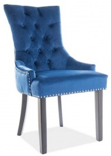 Casa Padrino Luxus Chesterfield Esszimmerstuhl Blau / Silber / Schwarz 55 x 45 x H. 99 cm - Küchenstuhl mit Samtstoff - Esszimmer Möbel