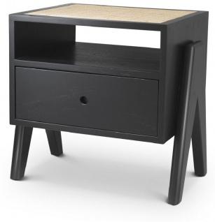 Casa Padrino Luxus Nachttisch Schwarz / Naturfarben 58 x 45 x H. 55, 5 cm - Massivholz Beistelltisch mit Rattangeflecht - Luxus Schlafzimmer Möbel