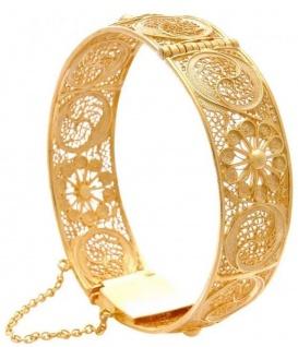 Casa Padrino Luxus Damen Armreif Gold - Vergoldetes Sterlingsilber Armband - Handgefertigter Damenschmuck - Damen Armschmuck - Luxus Kollektion